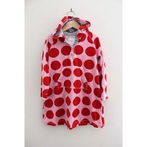 •MINI BODEN PINK RED POLKA DOT HOOD SWEATER DRESS•